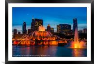 Buckingham Fountain at Dusk, Framed Mounted Print