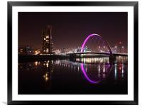 Glasgow Clyde Arc at Night, Framed Mounted Print