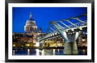 St Pauls Cathedral and the Millennium Bridge, Framed Mounted Print