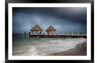 pier with a pair of palapa's             , Framed Mounted Print