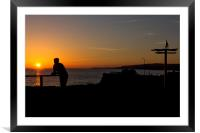 Man Statue on a Beach at Sunset , Framed Mounted Print