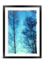 Distant Aeroplane in Blue Sky, Framed Mounted Print