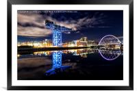 Finnieston Crane and Clyde Arc by night, Framed Mounted Print