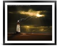 lighthouse and lightning storm, Framed Mounted Print