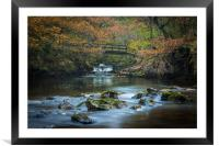 Autumn at the falls, Framed Mounted Print