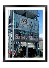 Ouch Safety Shoes, Framed Mounted Print