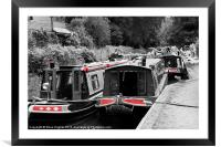 Boats on the Basingstoke Canal, Framed Mounted Print