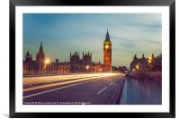 Palace of Westminster light trails, Framed Mounted Print