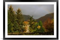 Autumn and a Rainbow in Grassmere in the Lake Dist, Framed Mounted Print
