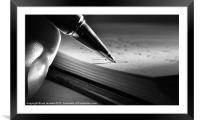 PUTTING PEN TO PAPER, Framed Mounted Print