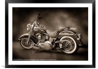 HARLEY DAVIDSON PAINTING, Framed Mounted Print