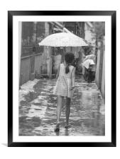 Girl In Rain, Framed Mounted Print