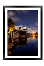Water House at Full Moon, Framed Mounted Print