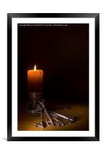 Candle and Old Keys, Framed Mounted Print