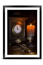 Clock, Candle and Old Keys, Framed Mounted Print