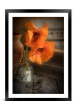 Two Poppies in a Vase, Framed Mounted Print