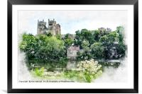 Durham Cathedral Digital Watercolour, Framed Mounted Print
