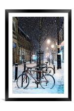 Cycles in the Snow, Framed Mounted Print
