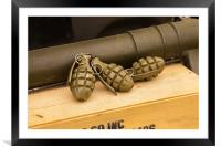 Hand Grenades and Bazooka, Framed Mounted Print