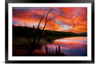 Bamford and Howden railway sunset, Framed Mounted Print