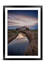 Landscape of The Marsh At Sundown, Framed Mounted Print