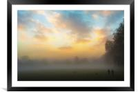 Walking the dogs on a foggy day, Framed Mounted Print