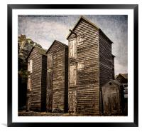 Fishermens Huts at Hastings, Framed Mounted Print