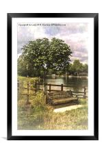 A Seat By The Thames, Framed Mounted Print
