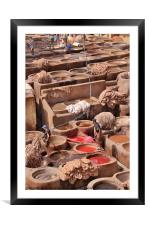 Leather Tannery in Fes, Framed Mounted Print