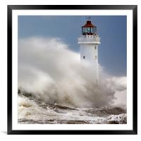New Brighton lighthouse Facing the fury, Framed Mounted Print