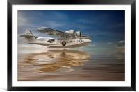 PBY Catalina, Low pass, Framed Mounted Print