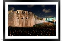 Tower of London torch lit candles lanterns, Framed Mounted Print