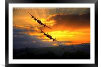 The Two Lancasters at Sunset 1, Framed Mounted Print