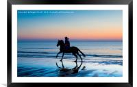 Silhouette of Horse and rider on Beach at sunset, Framed Mounted Print