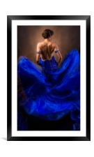 Woman In A Billowing Blue Gown, Framed Mounted Print