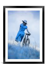 woman with bicycle in field, Framed Mounted Print