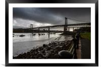 The Tamar Bridge over the Estuary at low tide., Framed Mounted Print