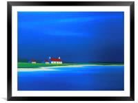 Little white house with a red roof  on the beach, Framed Mounted Print