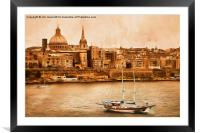 Valletta Malta in the style of Georgia O'Keefe, Framed Mounted Print
