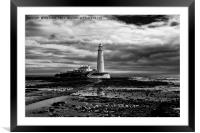 St Mary's Lighthouse and Island in B&W, Framed Mounted Print