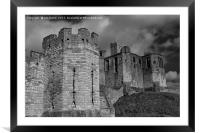 Warkworth Castle in Black and White, Framed Mounted Print