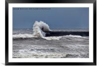 Waves over South Shields pier, Framed Mounted Print