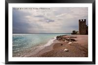 Sirmione public beach and Scaliger Castle, Framed Mounted Print