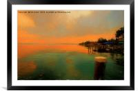 Sirmione at dusk in the style of a Turner Sunset, Framed Mounted Print