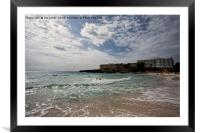 Swimmers on the beach at Cala'n Bosch, Menorca, Framed Mounted Print