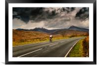 Winter Cyclist Snowdonia, Framed Mounted Print