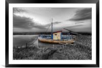 Fishing boat at Thornham in Norfolk, Framed Mounted Print