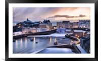 Tenby Harbour in the Snow, Framed Mounted Print