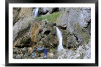 Climbers making their way up the cliffs of Gordale, Framed Mounted Print