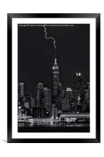 Empire State Building Lightning Strike II, Framed Mounted Print